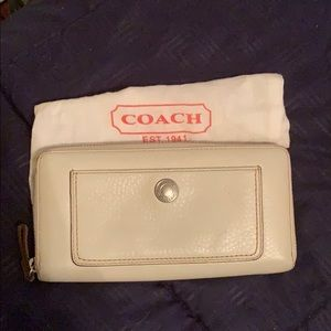 Coach Cream Leather Large Zip Wallet